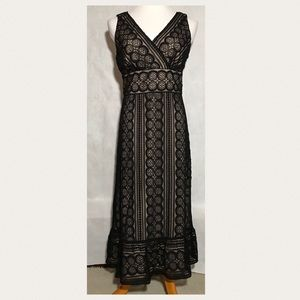 Ann Taylor Loft Fitted Black Lace Dress Lined SZ 8